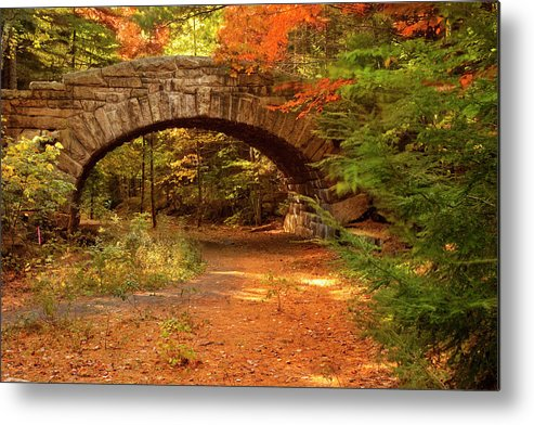 Scenics Metal Print featuring the photograph Stone Bridge, Part Of Carriage Roads by Danita Delimont