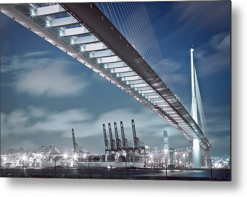 Built Structure Metal Print featuring the photograph Stonecutters And Container Terminal by Andi Andreas