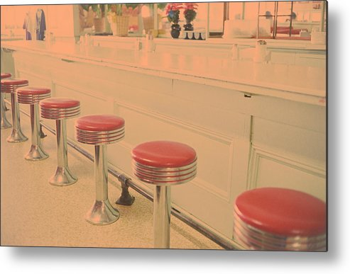 Empty Metal Print featuring the photograph Stools At Bar Counter by Carol Whaley Addassi