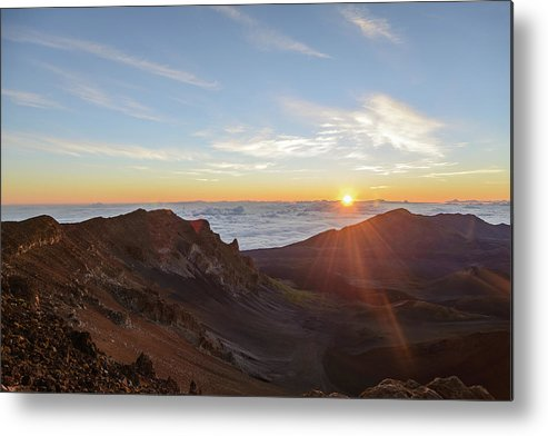 Scenics Metal Print featuring the photograph Sunrise At Haleakala by Photo By Robert Vaughn