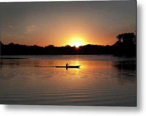 Water's Edge Metal Print featuring the photograph Sunset Kayaking In Lake Of The Isles by Yinyang