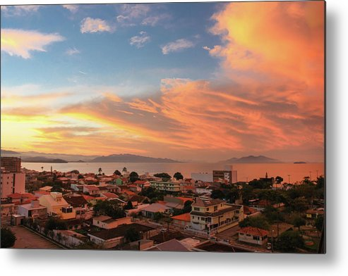 Tranquility Metal Print featuring the photograph Sunset Over Florianopolis by Dircinhasw
