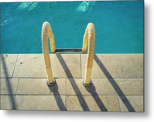 California Metal Print featuring the photograph Swimming Pool Ladder, Los Angeles by Alvis Upitis