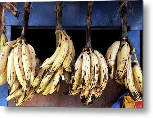 Hanging Metal Print featuring the photograph Tanzania, Zanzibar, Bananas For Sale In by John Seaton Callahan