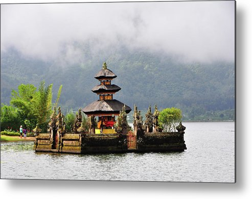 Tranquility Metal Print featuring the photograph Temple On Lake, Bali by Aaron Geddes Photography