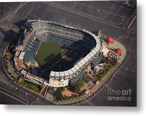 American League Baseball Metal Print featuring the photograph Texas Rangers V Los Angeles Angels Of by Mlb Photos