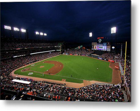 American League Baseball Metal Print featuring the photograph Texas Rangers V San Francisco Giants by Doug Pensinger