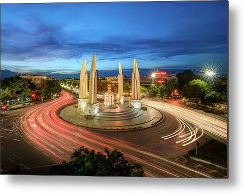 Built Structure Metal Print featuring the photograph The Democracy Monument by Thanapol Marattana