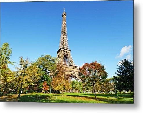 Clear Sky Metal Print featuring the photograph The Eiffel Tower With Some Autumnal by Tom Bonaventure