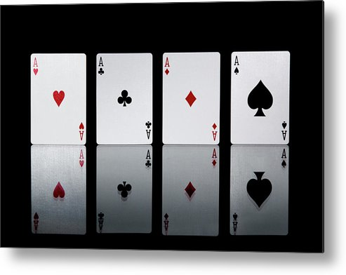 Risk Metal Print featuring the photograph The Four Aces From A Pack Of Playing by Sasha Weleber