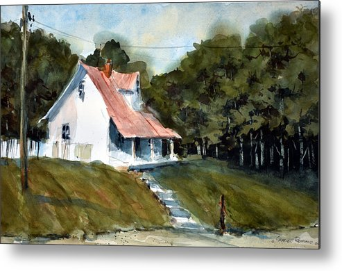 Landscape Metal Print featuring the painting The l Little White Cottage on Limerick Lane by Charles Rowland