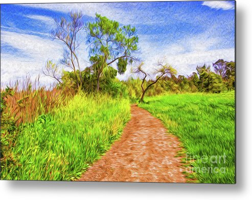 Colorful Metal Print featuring the digital art The Path that Lies Ahead II by Kenneth Montgomery