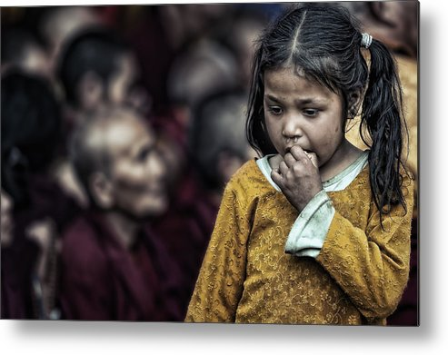 Portrait Metal Print featuring the photograph The Song Of The Monks by Piet Flour