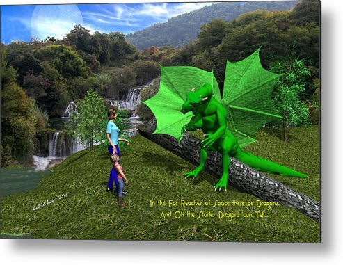 Metal Print featuring the digital art There Be Dragons by Bob Shimer