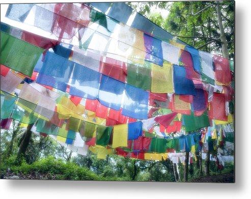 Hanging Metal Print featuring the photograph Tibetan Buddhist Prayer Flags by Glen Allison
