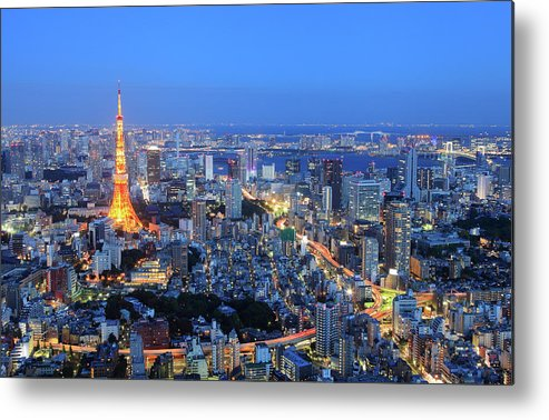 Tokyo Tower Metal Print featuring the photograph Tokyo Tower View From Mori Tower by Krzysztof Baranowski