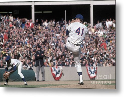 Tom Seaver Metal Print featuring the photograph Tom Seaver Pitching During Baseball Game by Bettmann