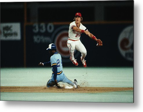 St. Louis Cardinals Metal Print featuring the photograph Tommy Herr Making Double Play by Bettmann