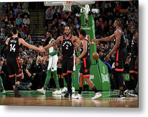 Nba Pro Basketball Metal Print featuring the photograph Toronto Raptors V Boston Celtics by Brian Babineau
