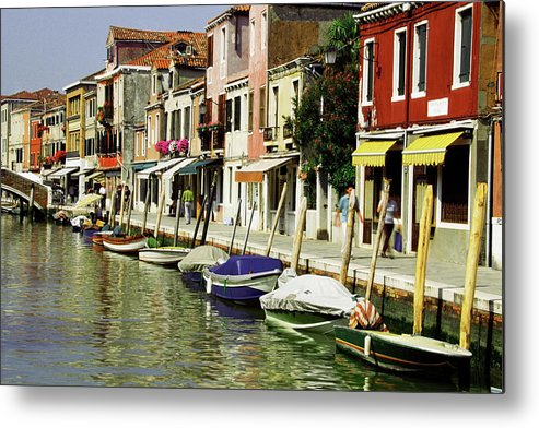 Row House Metal Print featuring the photograph Tourists Along A Canal, Murano, Venice by Medioimages/photodisc