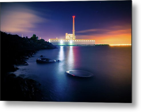 Industrial District Metal Print featuring the photograph Toxic Beach With Power Plant by Hal Bergman