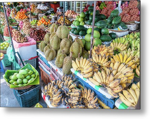 Mango Fruit Metal Print featuring the photograph Tropical Fruit At A Street Market In by Tbradford