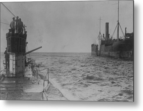 Container Ship Metal Print featuring the photograph U-boat Attack by Hulton Archive