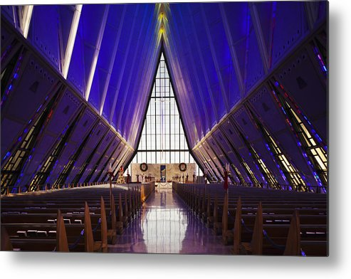 Large Group Of Objects Metal Print featuring the photograph U.s. Air Force Academy, Cadets Chapel by Walter Bibikow