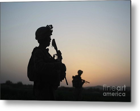 Killing Metal Print featuring the photograph U.s. Marines Continue Suppression by Joe Raedle