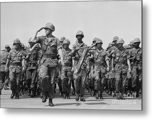 Marching Metal Print featuring the photograph U.s. Marines Marching In Review by Bettmann