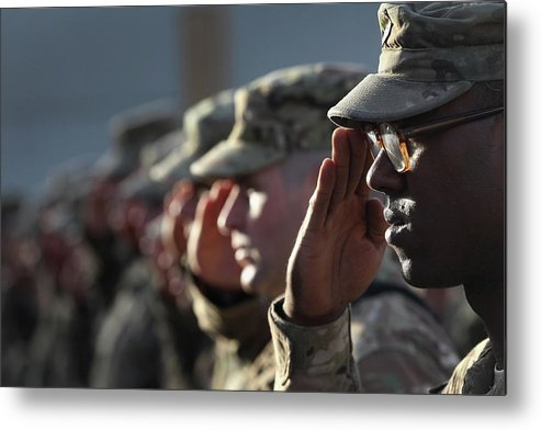 People Metal Print featuring the photograph U.s. Soldiers Commemorate 911 by John Moore