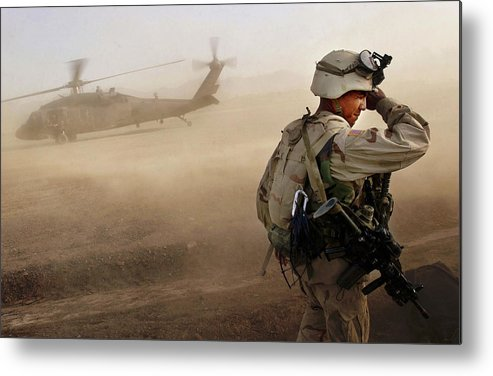 War Metal Print featuring the photograph Us Soldiers On Special Operations In by Chris Hondros