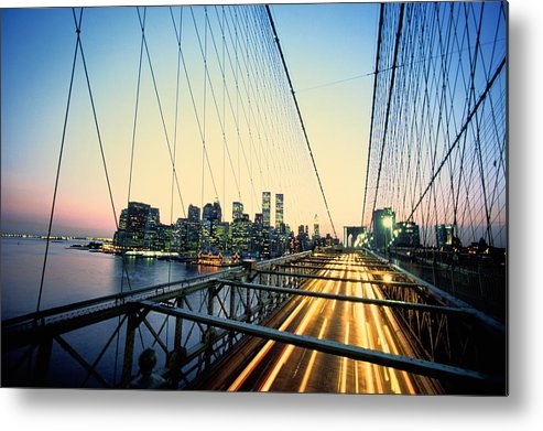Twin Towers Metal Print featuring the photograph Usa, New York City, Manhattan, View by Paul Radenfeld