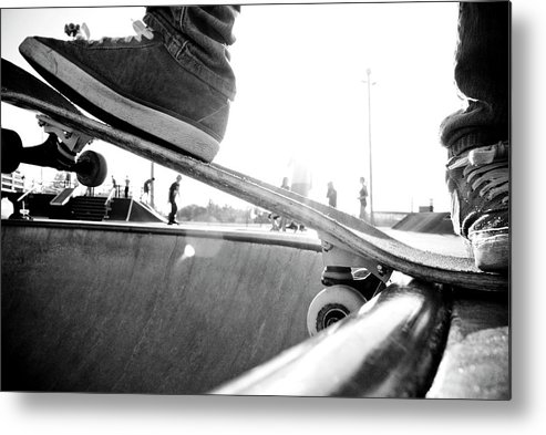 People Metal Print featuring the photograph Usa, Wisconsin, Skateboarder In Skate by Win-initiative