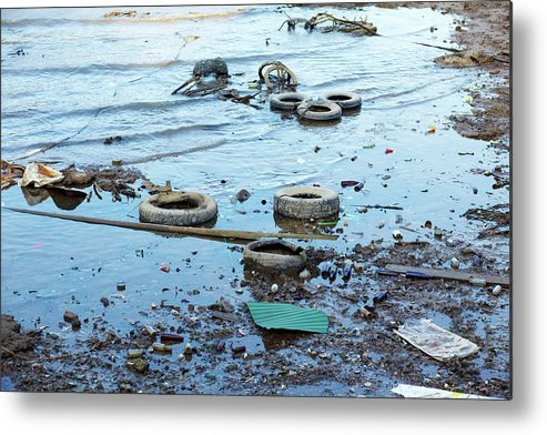 Water's Edge Metal Print featuring the photograph Water Pollution by Drbouz
