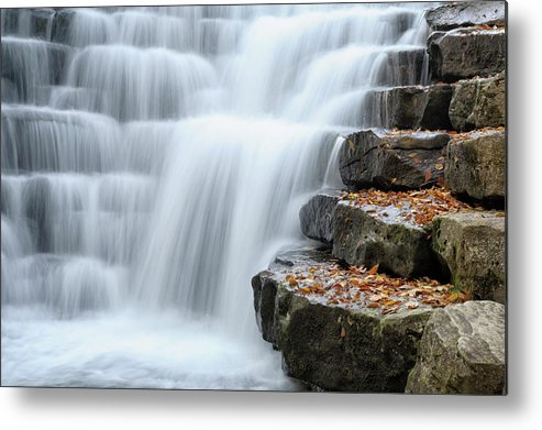 Steps Metal Print featuring the photograph Waterfall Flowing Over Rock Stair by Catnap72