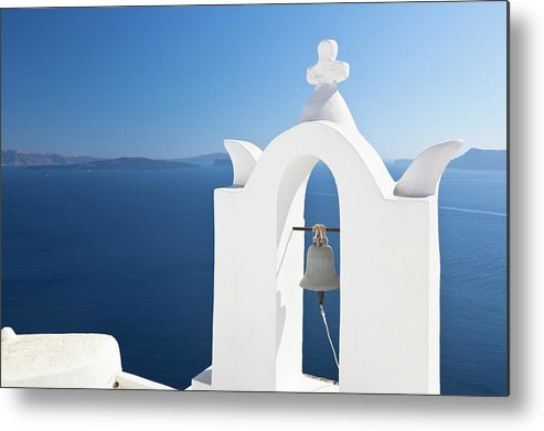 Greek Culture Metal Print featuring the photograph White Bell Tower And Blue Sea by Michaelutech