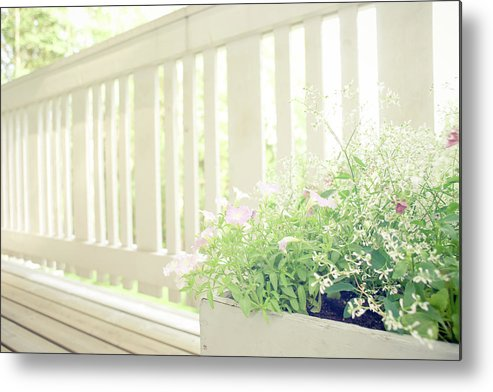 Outdoors Metal Print featuring the photograph White Fence And Flowers by Photographer Mikael Nyberg
