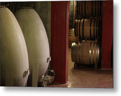 Aging Process Metal Print featuring the photograph Wine Cellar by Tom And Steve