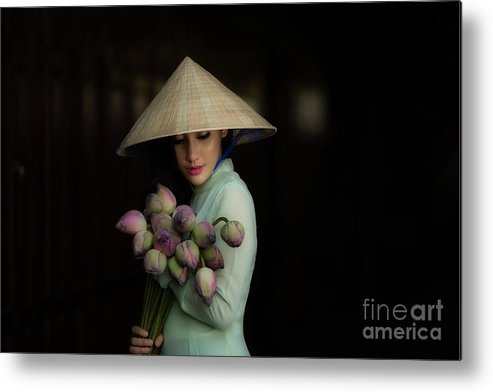 Chinese Culture Metal Print featuring the photograph Women Vietnam In Ao Dai Traditional by Sutiporn Somnam