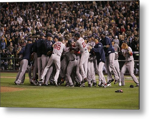 Celebration Metal Print featuring the photograph World Series Boston Red Sox V Colorado by Rich Pilling
