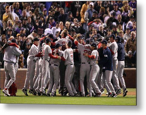 Scoring Metal Print featuring the photograph World Series Boston Red Sox V Colorado by Stephen Dunn