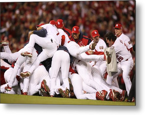Following Metal Print featuring the photograph World Series Game 5 St. Louis Cardinals by Rich Pilling