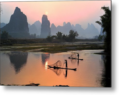 Chinese Culture Metal Print featuring the photograph Yangshuo Li River At Sunset by Kingwu