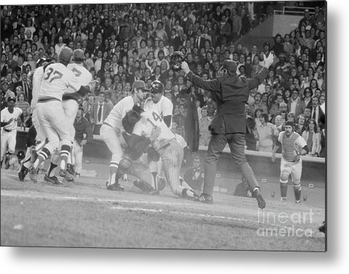 Baseball Catcher Metal Print featuring the photograph Yankees And Red Sox Players In Scuffle by Bettmann