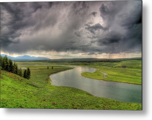 Scenics Metal Print featuring the photograph Yellowstone River In Hayden Valley by Kevin A Scherer