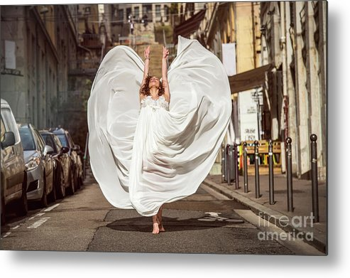 Ballet Dancer Metal Print featuring the photograph Young Female Dancer In The Streets by Yanis Ourabah