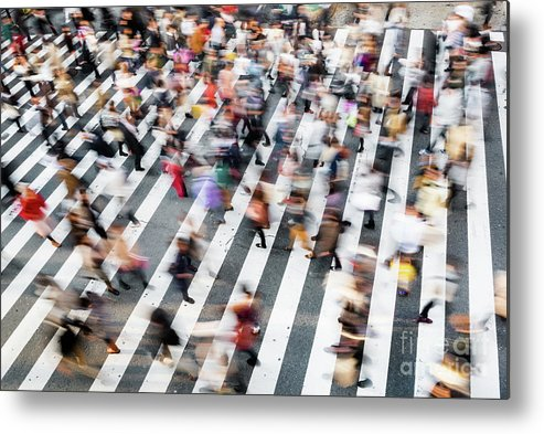 Crowd Of People Metal Print featuring the photograph Zebra Crossing by Tomml
