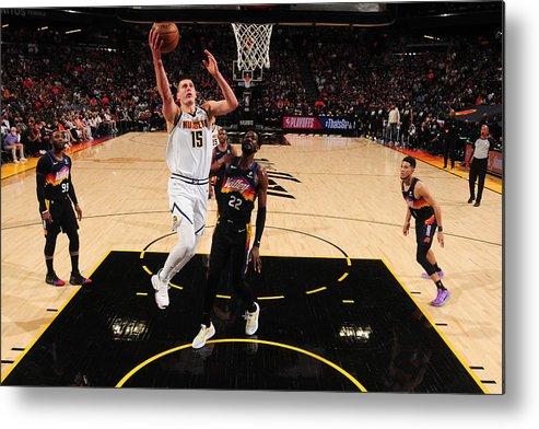Playoffs Metal Print featuring the photograph 2021 NBA Playoffs - Denver Nuggets v Phoenix Suns by Barry Gossage