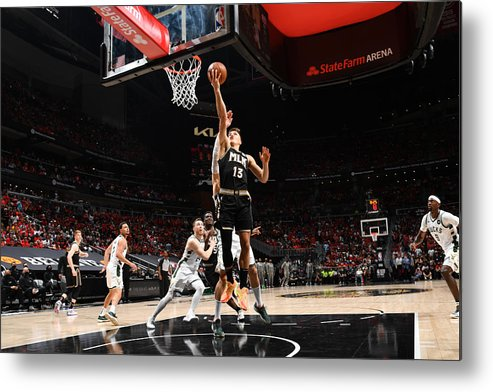 Atlanta Metal Print featuring the photograph 2021 NBA Playoffs - Milwaukee Bucks v Atlanta Hawks by Jesse D. Garrabrant